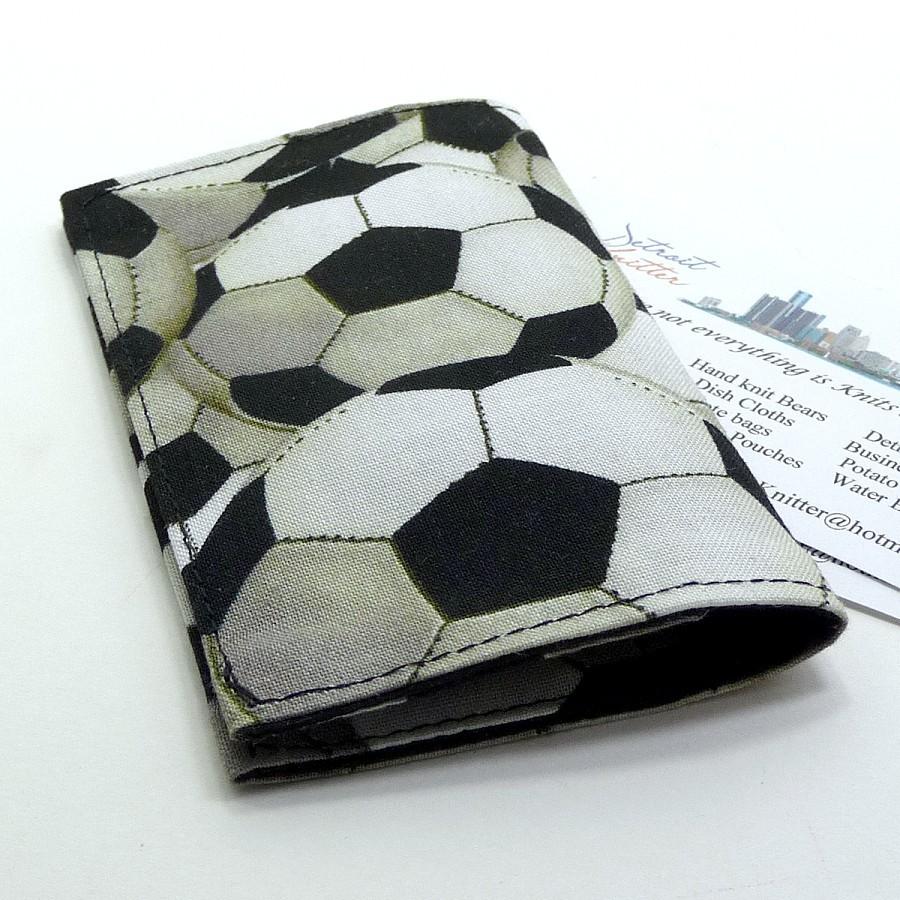 Business Card Holder Mini Wallet - Soccer Balls Pattern on Luulla